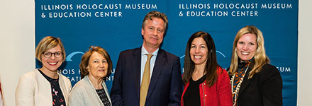 Eva Berendsen, Anne Frank Educational Centre; Fritzie Fritzshall, Holocaust survivor and Illinois Holocaust Museum president; Philipp Mohr, William Blair partner; Susan Abrams, CEO of Illinois Holocaust Museum; and Laura Coy, William Blair director of philanthropy strategy