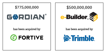 Gordian has been acquired by Fortive; eBuilder has been acquired by Trimble